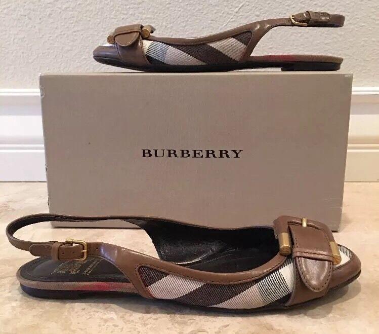 BURBERRY Nova Check Plaid Canvas Leather Sling Back Ballet Flats 38.5  NICE