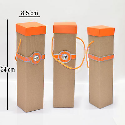 3 Pack Orange/Green Tall Wine Bottle Box Perfect for Purim Mishloach Manot gift