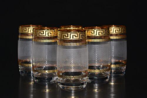Dekor Karo Bohemia Bohemia Kristallglas 6 Wassergläser Handbemalt in Gold