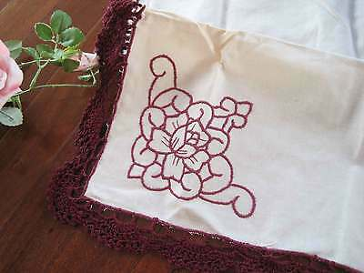 Lovely Hand Crochet Floral Cotton Doily Deep Red 20CM