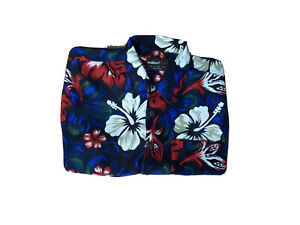 Reubenfscarf Mens Button Up Box Collared Shirt Lilly Print Size M