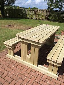 HEAVY DUTY WOODEN WALKIN GARDENPUB PICNIC TABLE EBay - Walk in picnic table