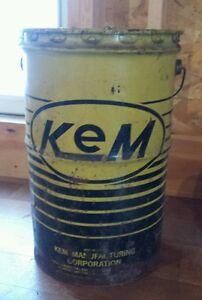 Vintage Kem Motor Oil Metal Can Drum Barrell Grease Gas 7