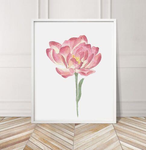 Pink Watercolour Flower Nursery Little Girl Room Poster Print Home Wall Art BD14