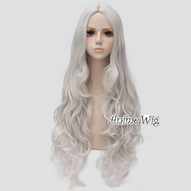 80CM Long Silver White Curly Women Girls Lolita Style Fashion Hair Cosplay Wig
