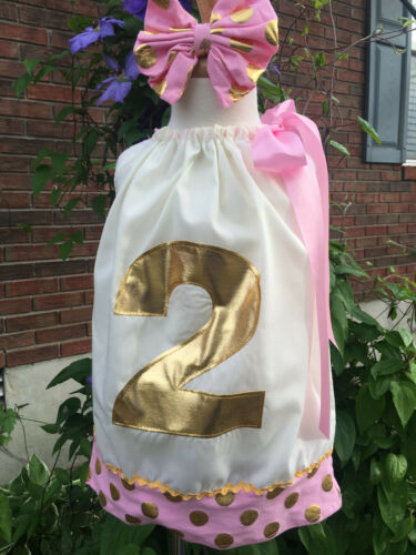 "Dress Gold pink /""two/"" 2 applique polka dots Birthday Party outfit Summer 2T 3T"