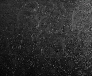 Image Is Loading Black Western Embossed Fl Faux Leather Vinyl Upholstery