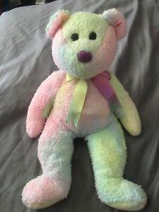 "1999 Beanie Babies Buddies LG 12""  Teddy Bear Pastel Tie Dye NO Tag"