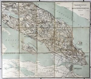 Lac-de-Constance-1890-Rare-Carte-Entoilee-Bodensee-Allemagne-Suisse-Konstanz-Egg