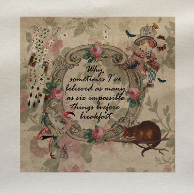 Alice In Wonderland Advice Printed Fabric Panel Make A Cushion Upholstery Craft