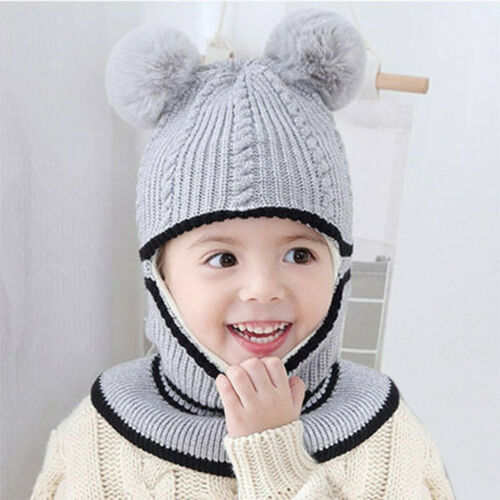 Winter Warm Crochet Knit Beanie Cap Pom Hat Scarf For Toddler Kids Baby Girl Boy