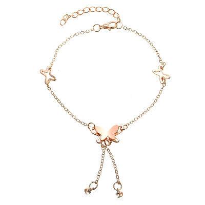 Lady 18K Rose Gold Plated Titanium Steel Crystal Anklet Butterfly Ankle Bracelet