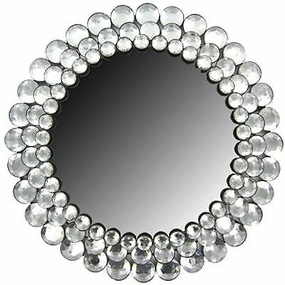 Modern Round Circle Chic Crystal Bling Gemstone Accented Wall Mirror Decor