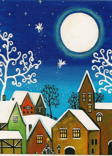 ACEO PRINT OF PAINTING RYTA CHRISTMAS ANGEL HOUSE MOON TREE ABSRATCT FOLK ART