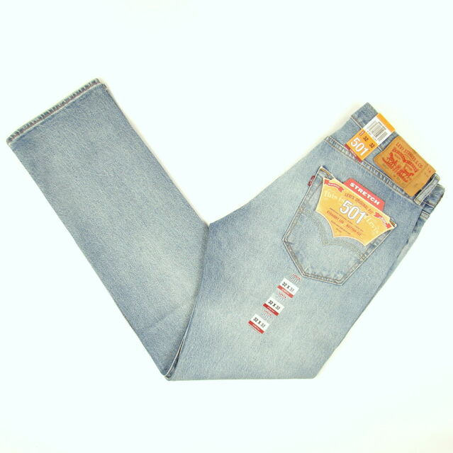 8b344408d2c Levis 501 Jeans Original New Mens Size 32 x 32 MEDIUM BLUE W/ STRETCH Levi's