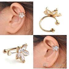 NiX 1222 1 PC. Clover Crystal CZ Flower Gold Ear Cuff Earring Clip For Women