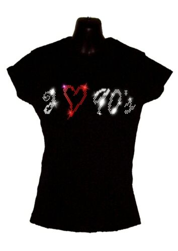 I Love 80s Eighties Ladies Fitted T Shirt Crystal Rhinestone Design ALL SIZES