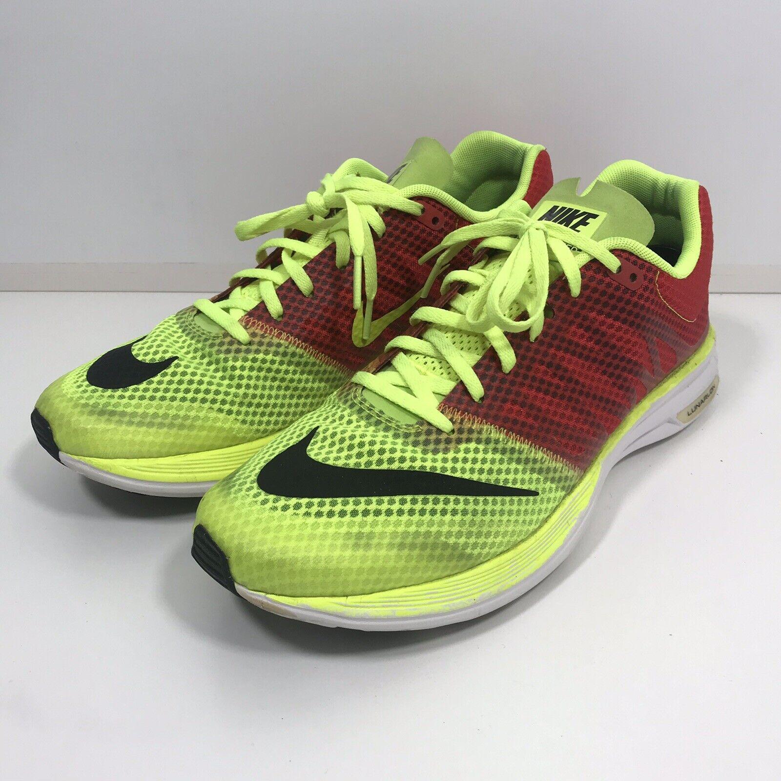 Nike Lunarspeed Lunarlon Baskets Homme Taille 11 Chaussure De Course Volt rouge 554682-706