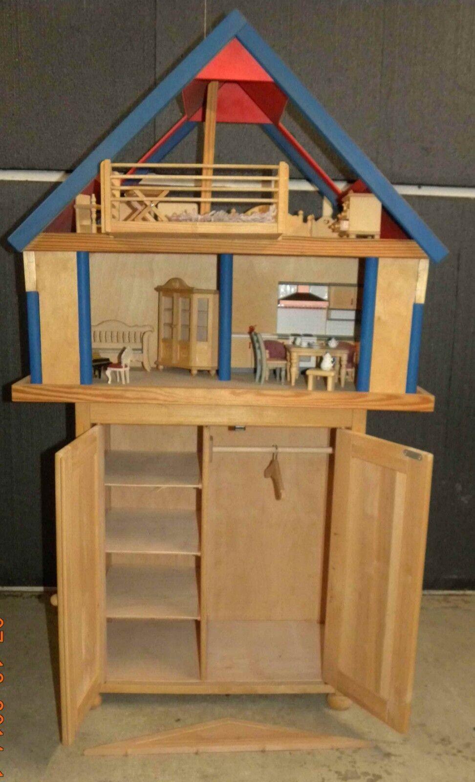 Puppenhaus hochwertig aus Holz mit Unterschrank, Puppen, Möbel und Zubehör  | Reichhaltiges Design