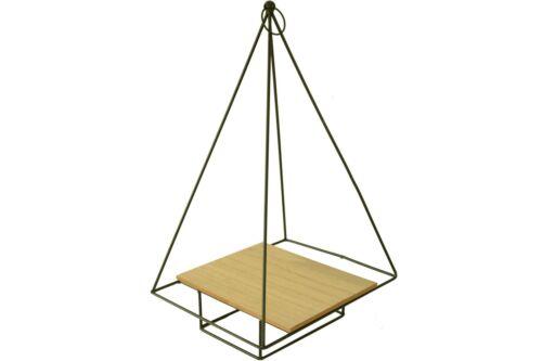 Suspendu étagère pyramide noir en métal avec sol en bois Kennedy deco 48 cm