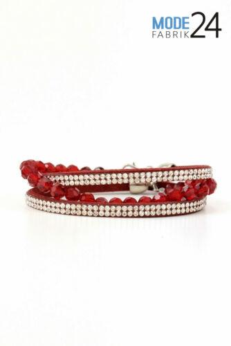 Pulsera enrollada pulsera de cuero señora brillo pedrería glamour perlas azul blanco rosa