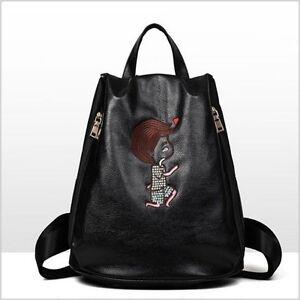 6134f78429b0de Image is loading Girl-Leather-School-Bag-Travel-Backpack-Women-Shoulder-