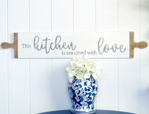 Kitchen is Seasoned With Love Tin Sign Plaque White Hamptons Coastal Farmhouse