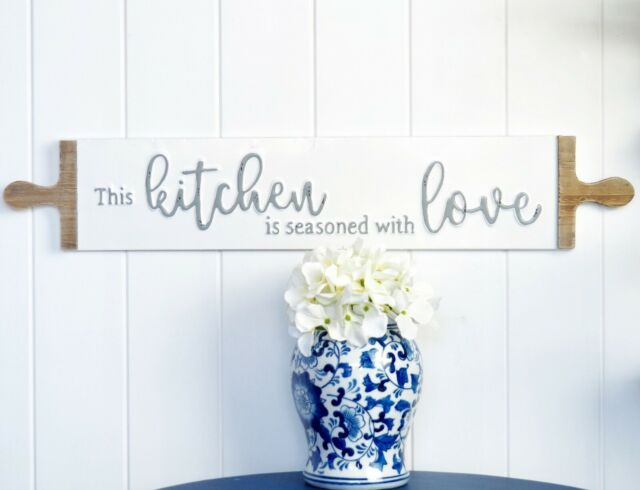 Kitchen is Seasoned With Love Tin Sign Plaque White Hamptons Coastal Farmhouse