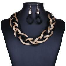 Gold Tone And Black Six Mesh Chain Link Braided Necklace Earring Set