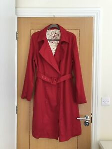 Austin Reed Women S Red Cotton Double Breasted Belted Mac Trench Coat Size 14 Ebay