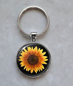 SNOOPY Sunflower Keychain Be a Sunflower Silver Charm Keyring Key Chain