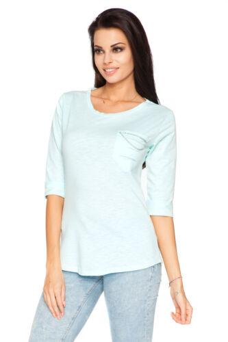 Damen Freizeit Top mit Tasche 3//4 Rundhals T-Shirt Größe 2.4-3.7m1940