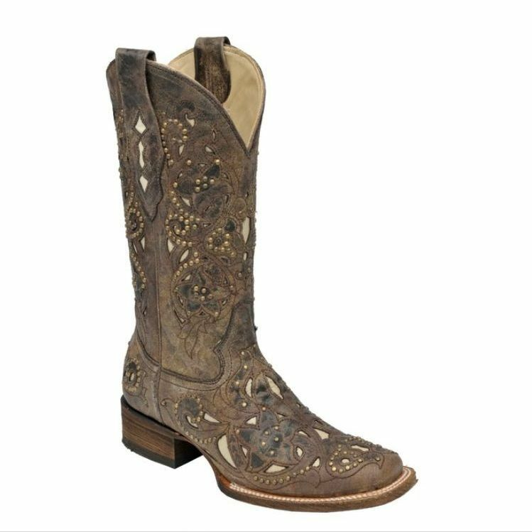 Corral Ladies Brown Crater Inlay Western Boot A1121