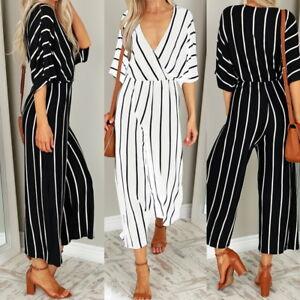 9080de27989 Details about UK 8-20 Women V Neck Striped Plus Size Jumpsuit Ladies  Trousers Playsuit Romper