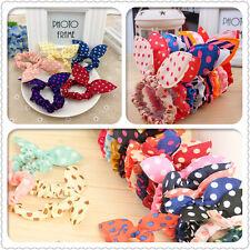 10pcs Girls Fashion Rabbit Bunny Ear Ribbon Headband Scarf Hair Tie Bow