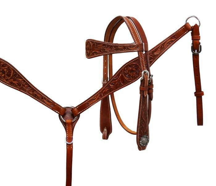 silverina Cow Leather Headstall and Breast Collar Set & Split Reins Medium Oil