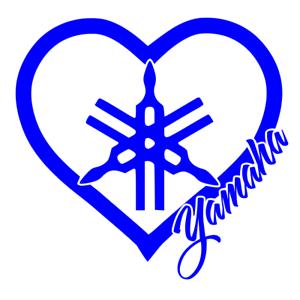 YAMAHA Heart Sticker Decal Blue