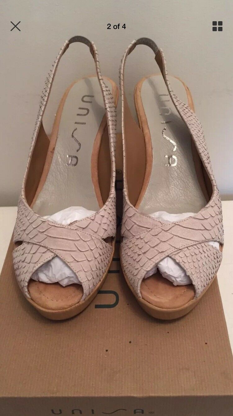 UNISA UNISA UNISA LADIES BEIGE LEATHER SLINGBACK WEDGES - Size 39 UNUSED 7f8e98