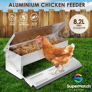 Aluminium-Auto-Chook-Poultry-Chicken-Food-Feeder-Treadle-Self-Opening-Coop-8-2L