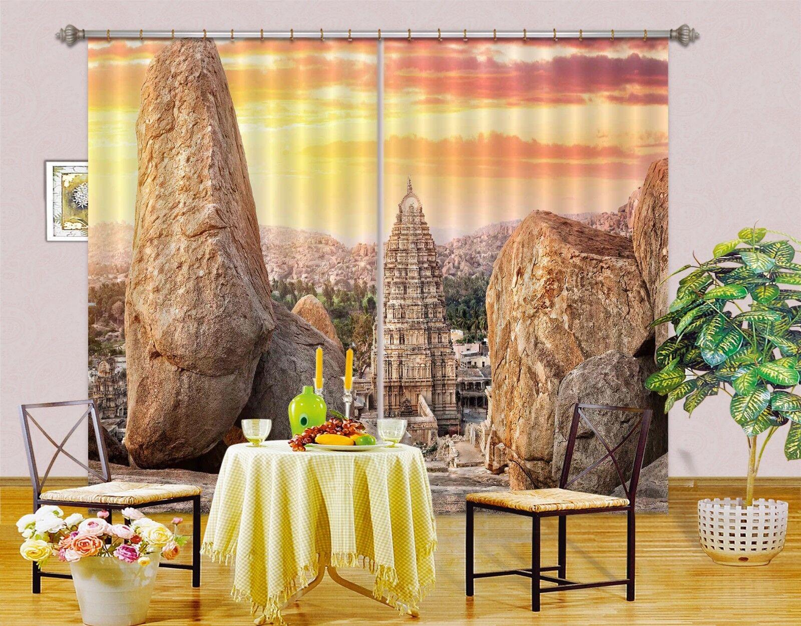 3D torre Sky 81 Cortinas de impresión de cortina de foto Blockout Tela Cortinas Ventana CA