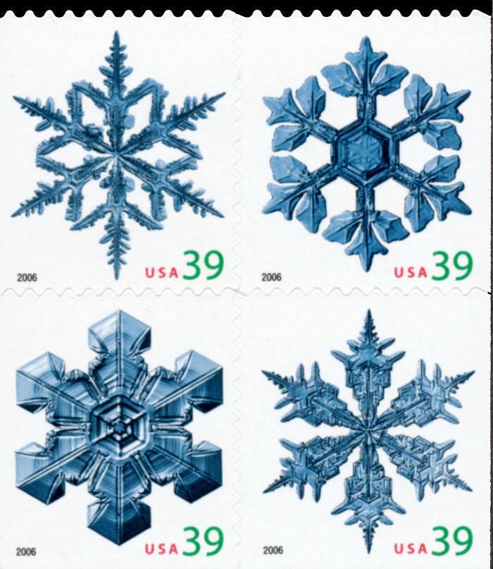 2006 39c Christmas Snowflakes, Block of 4 Scott 4109-41