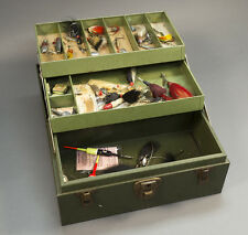 Old Kennedy Tackle Box with Vintage Lures, Flies, Spinners, Spoons, Wood Bobbers