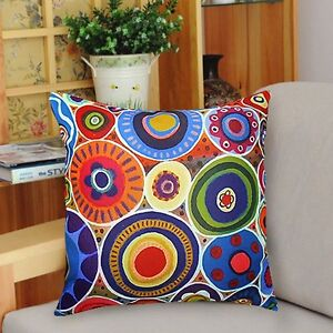 Round-About-PILLOW-COVER-Soft-Velvet-FOLK-ART-Circles-Colorful-KARLA-GERARD