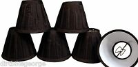 6 Candle Lamp Chandelier Shades -clip On Bulb -black Pleated Fabric -new