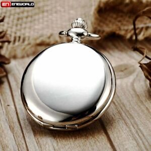 Vintage-Smooth-Full-Hunter-Pocket-Watch-Quartz-Chain-Antique-Pendant-Necklace