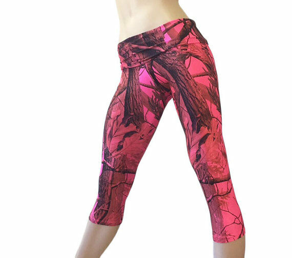 Pink Camo Yoga Pants Pink Camouflage Capri Fold Over High Waist SXYFITNESS USA