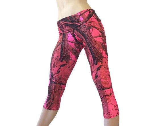 Pink Camo Yoga Pants Pink Camouflage Capri Fold Over//High Waist SXYFITNESS USA