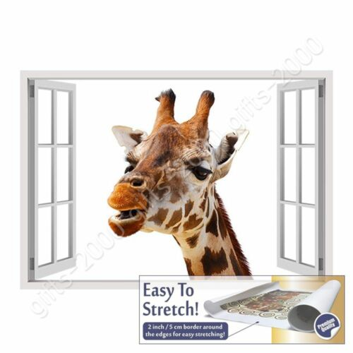 Wall art giclee picture HD Rolled Giraffe by Fake 3D WindowCanvas
