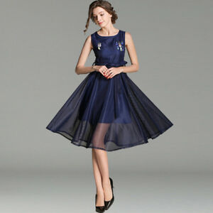 Elegant-dress-gown-blue-flowers-sleeves-swing-slim-soft-4245