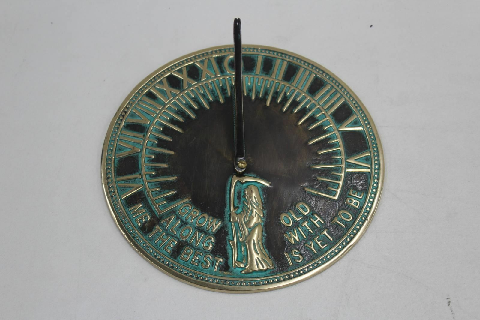 Brass Copper Tone Old Father Time Aged Virdigris Finish Sundial 200mm NEW